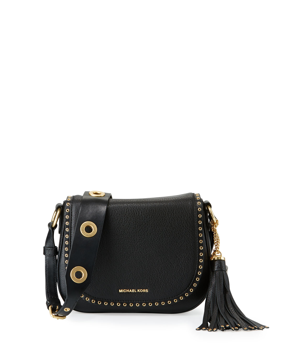 b98597931e29 MICHAEL Michael Kors Brooklyn Medium Leather Saddle Bag, Black ...