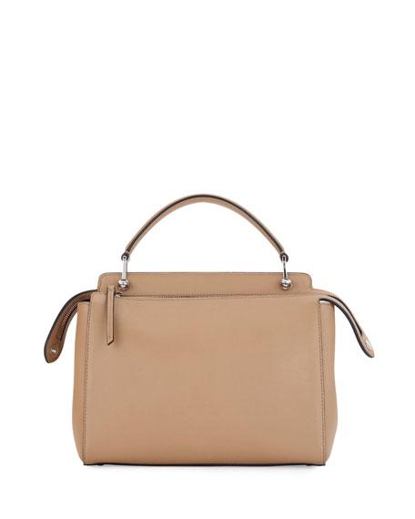 Dotcom Medium Leather Satchel Bag, Tan/Blue