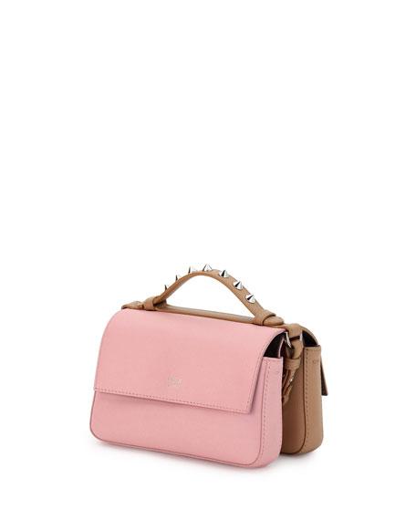 Double Baguette Micro Faces Leather Shoulder Bag, Tan