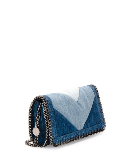 Falabella Denim Crossbody Clutch Bag, Blue