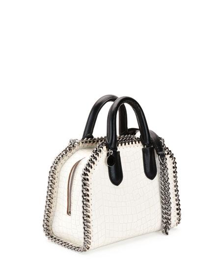 Falabella Mini Crocodile-Embossed Box Satchel Bag, Ivory