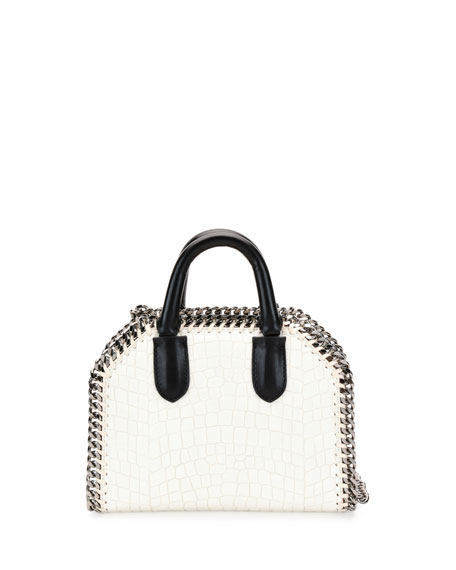 Falabella Mini Crocodile-Embossed Box Satchel Bag, Ivory