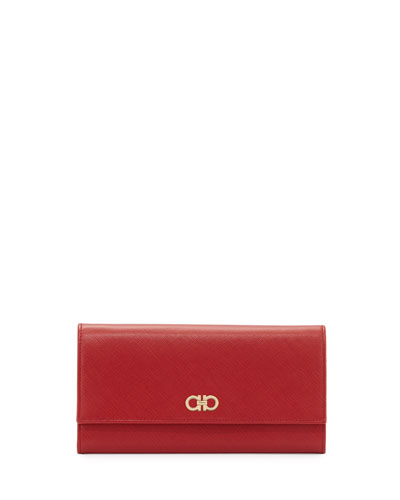 Gancini Icona Mini Wallet-On-Chain, Rosso