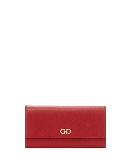 Salvatore Ferragamo Double Gancio Mini Wallet-On-Chain Bag, Rosso