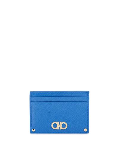 Gancini Icona Saffiano Card Case, Blue Indien