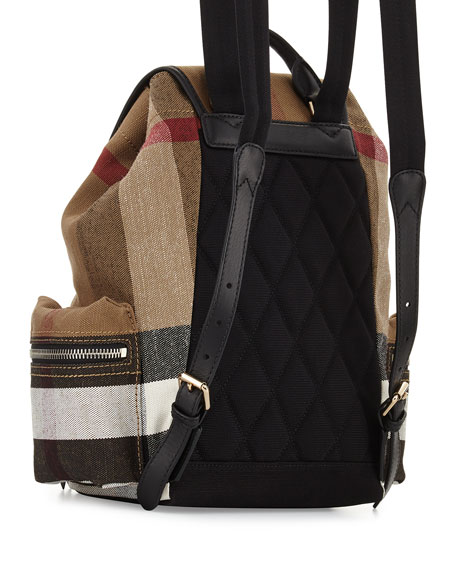 Medium Check Canvas Backpack, Black
