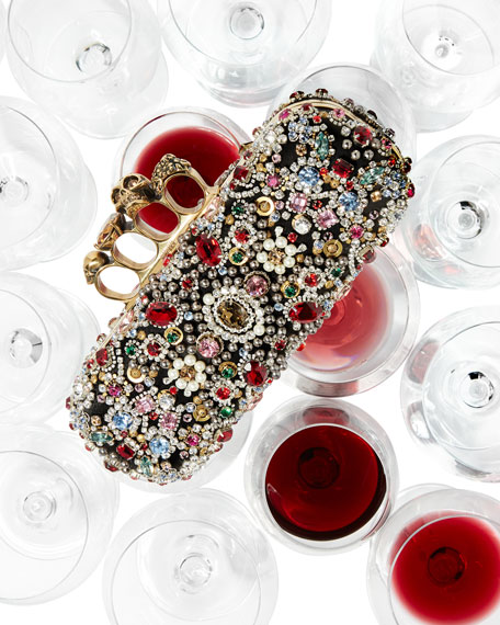 Jeweled Knuckle Box Clutch Bag, Multi