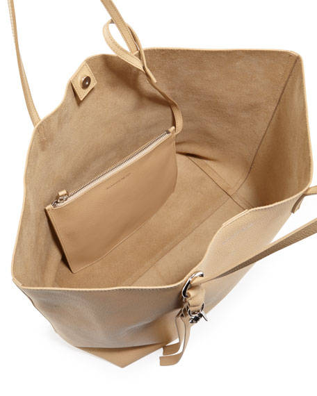 Alexander McQueen Skull Open Leather Shopper Tote Bag, Light Tan