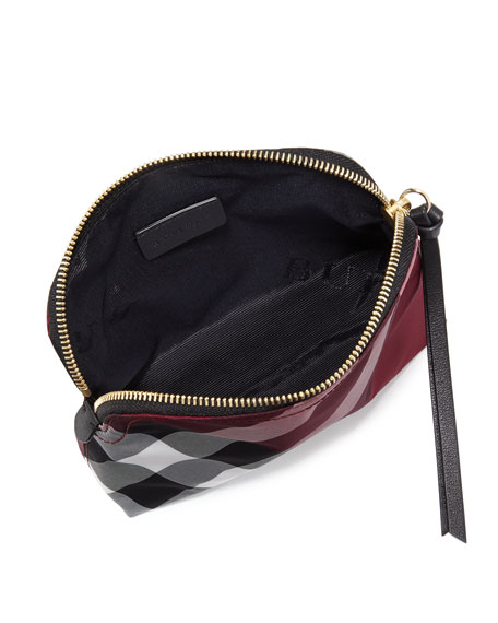 Medium Zip-Top Check Pouch Bag, Plum