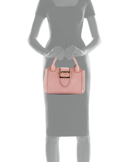 Buckle Small Leather Tote Bag, Dusty Pink