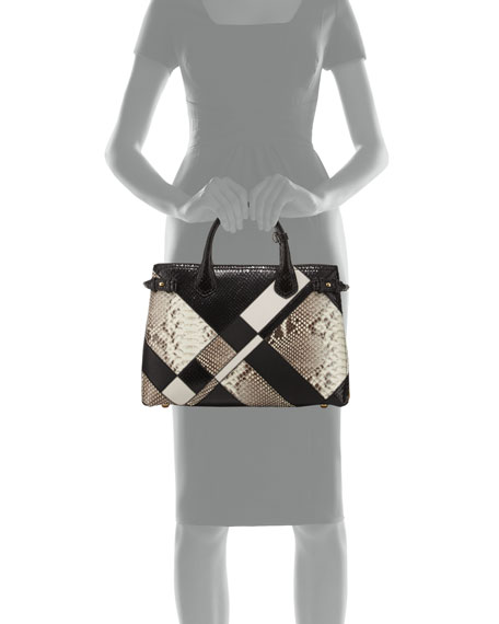 Banner Medium Patchwork Python Tote Bag, Black/White