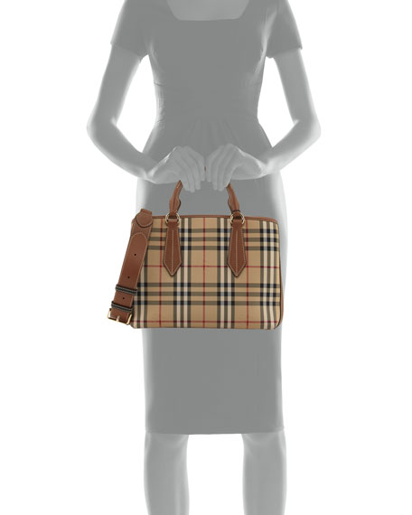 Ballingdon Medium House Check Tote Bag, Honey/Tan