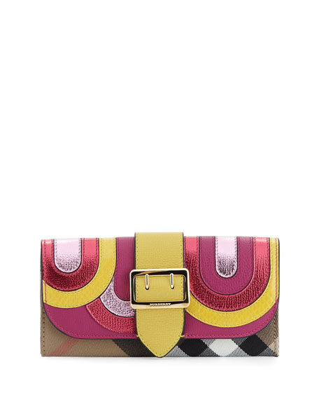 Burberry Halston House Check Pop Elements Flap Wallet,