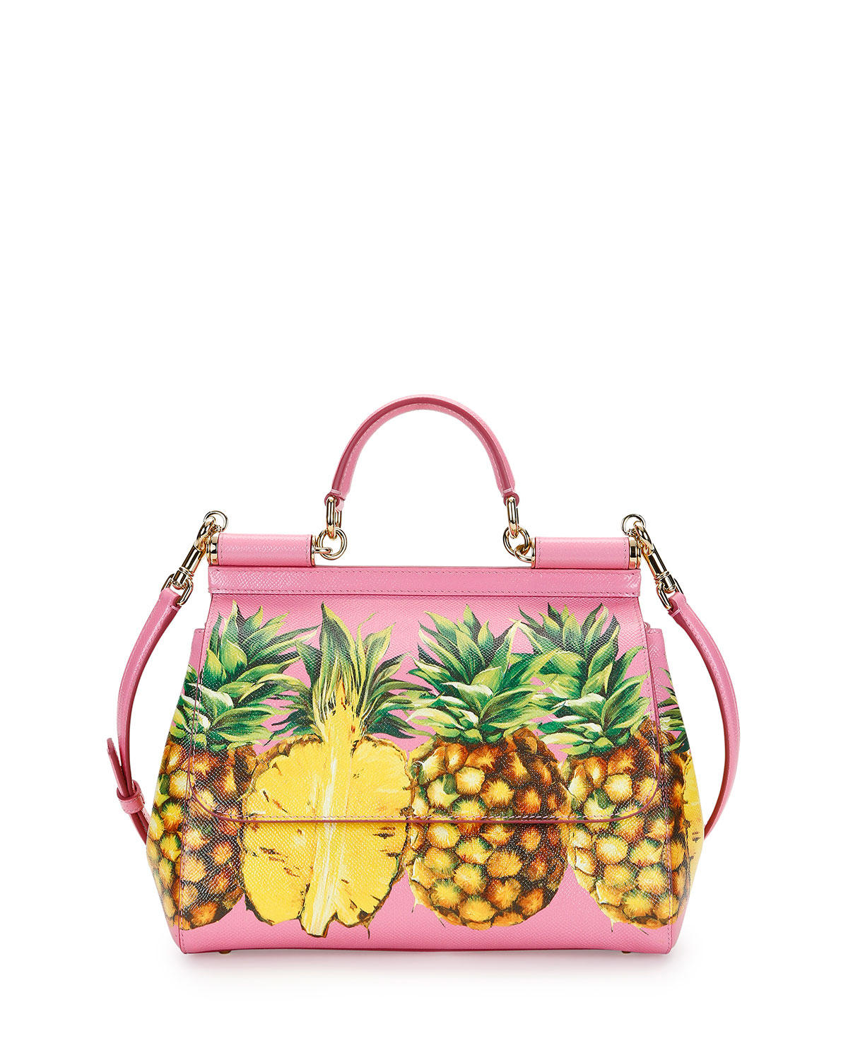 e880abc4701b43 Dolce & Gabbana Miss Sicily Medium Canvas Pineapple Satchel Bag, Pink/Multi