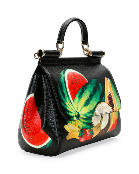 Miss Sicily Medium Canvas Fruit Satchel Bag, Black/Multi