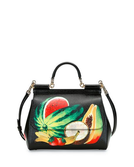 Dolce   Gabbana Miss Sicily Medium Canvas Fruit Satchel Bag f5674582082bb