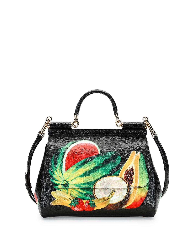 0d24aaa068d6 Dolce   Gabbana Miss Sicily Medium Canvas Fruit Satchel Bag