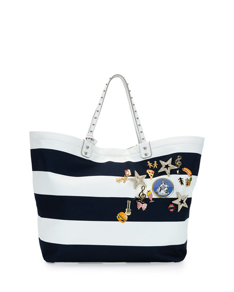 Dolce & Gabbana Marina Embellished Striped Tote Bag,