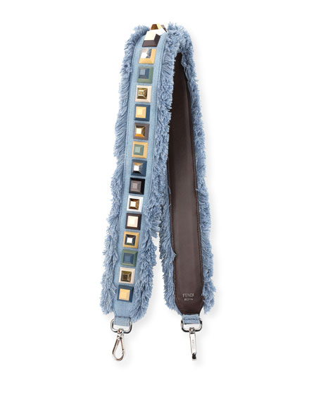 Strap You Studded Denim Shoulder Strap for Handbag, Denim/Multi