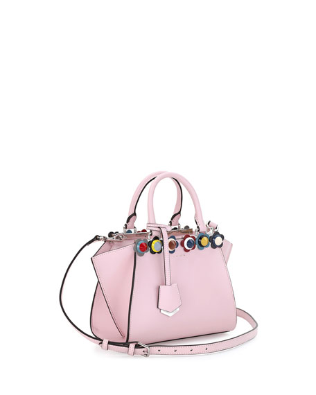 3Jours Mini Floral-Stud Tote Bag, Soft Pink/Multi