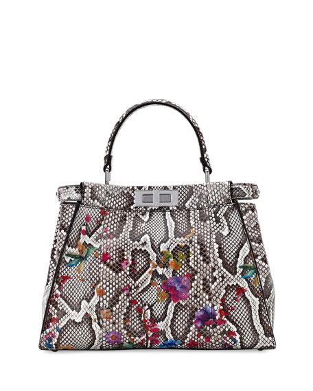Peekaboo Medium Floral Python Satchel Bag, Natural/Multi