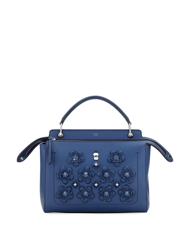 ca3527f835 Fendi Dotcom Medium Flower Studded Satchel Bag