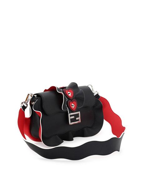 Baguette Heart-Stud Wave Shoulder Bag, Black/Red/Bordeaux