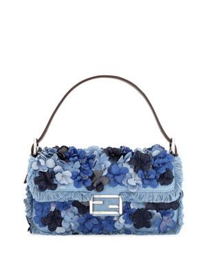 2a98de9ba4818d Fendi Baguette Denim Flowers Shoulder Bag, Denim