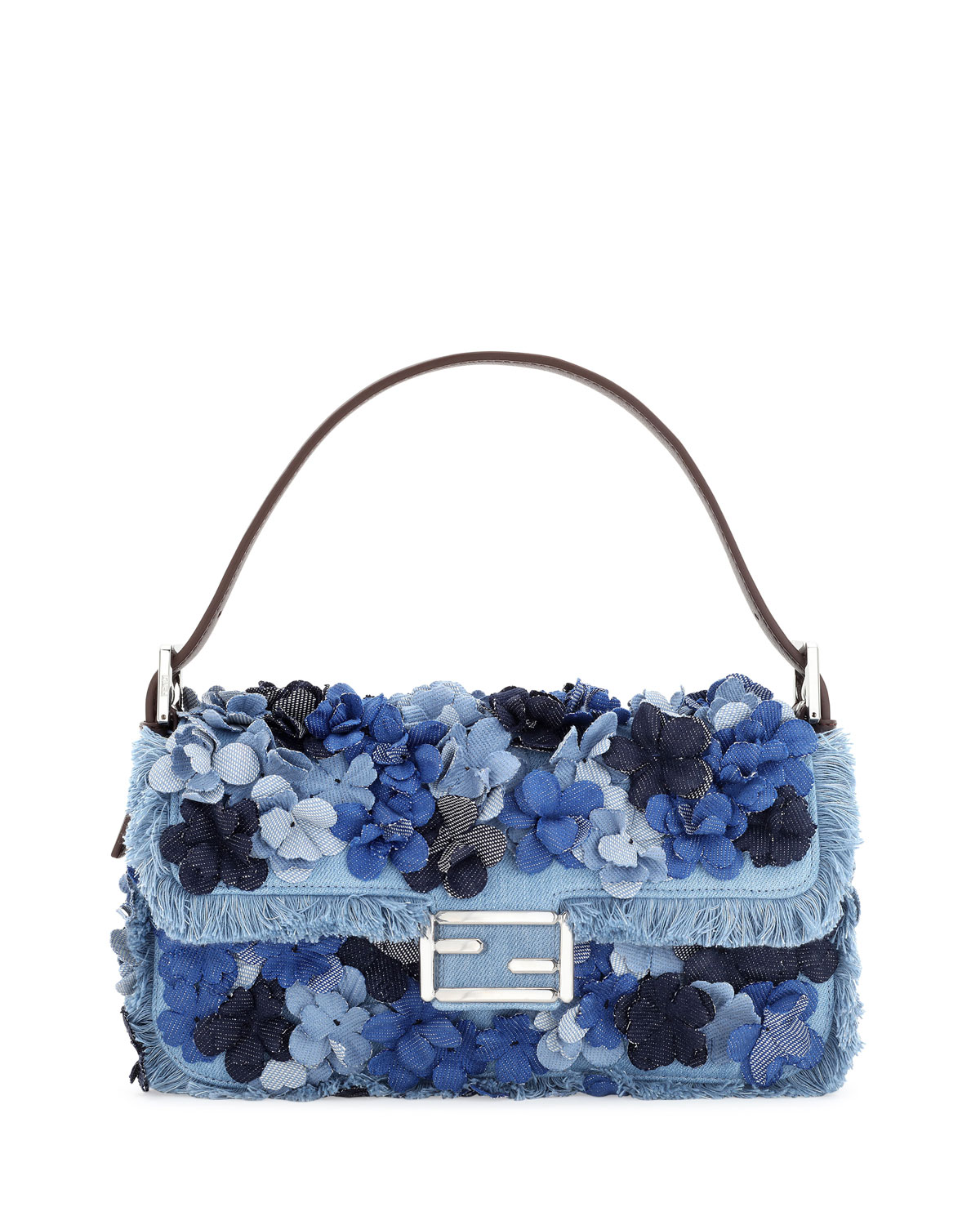 Baguette Denim Flowers Shoulder Bag