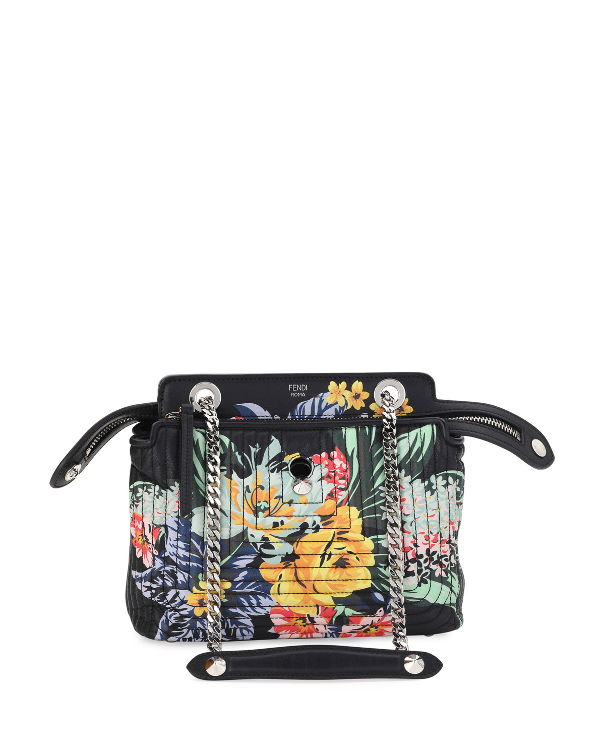 cff515508814 Fendi Dotcom Click Small Floral Quilted Chain Shoulder Bag