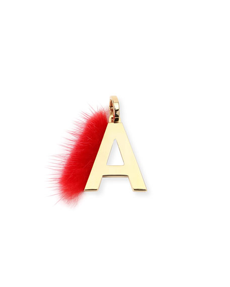 ABClick Letter A Mink Charm for Handbag, Multi
