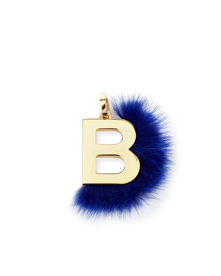 ABClick Letter B Mink Charm for Handbag, Multi