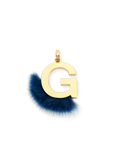ABClick Letter G Mink Charm for Handbag, Multi