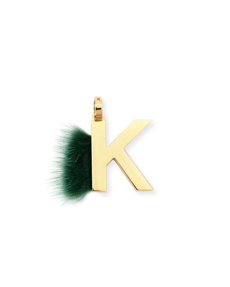 ABClick Letter K Mink Charm for Handbag, Multi