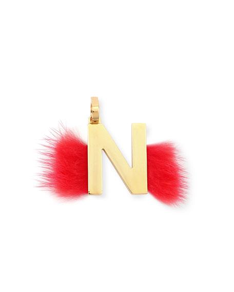 Fendi ABClick Letter N Mink Charm for Handbag,