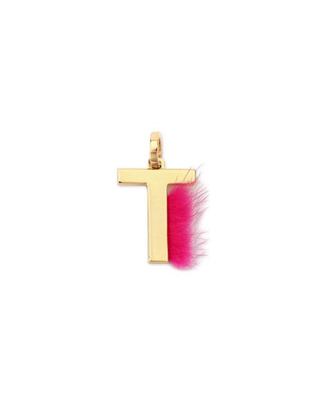 Fendi ABClick Letter T Mink Charm for Handbag,