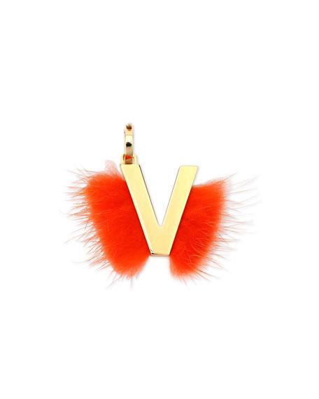 ABClick Letter V Mink Charm for Handbag, Multi