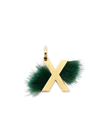 ABClick Letter X Mink Charm for Handbag, Multi