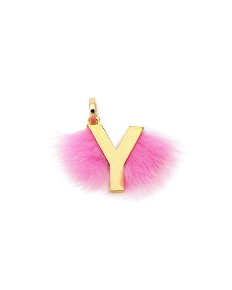 Fendi ABClick Letter Y Mink Charm for Handbag,