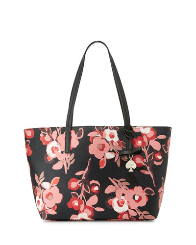 hawthorne lane floral ryan tote bag, black/multi