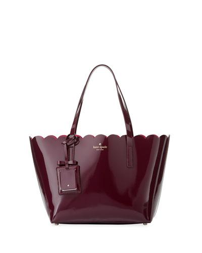 lily avenue small patent tote bag, mahogany/radish