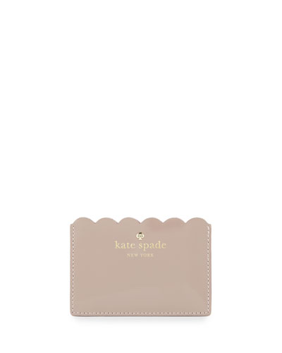 lily avenue patent card holder, porcini/rose taupe