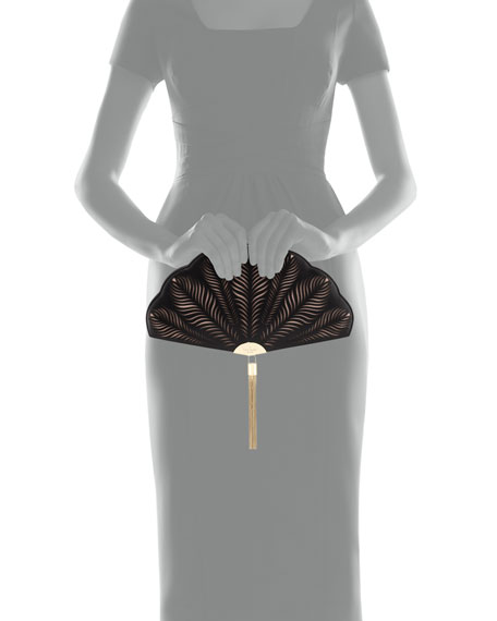 dress the part fan clutch bag, black