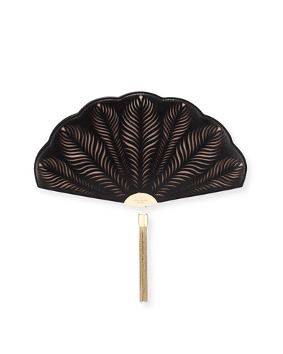 dress the part fan clutch bag, black