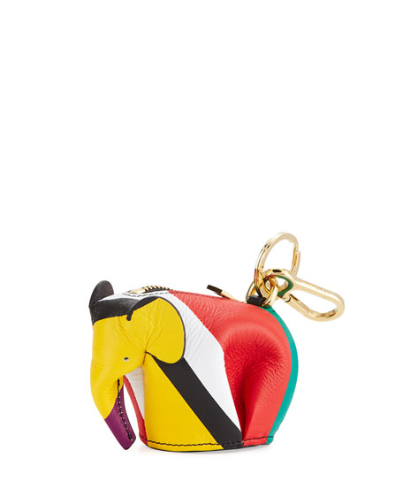 Striped Leather Elephant Charm for Handbag, Multi