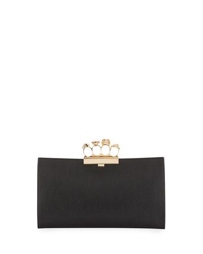 Knuckle Grain Leather Clutch Bag, Black