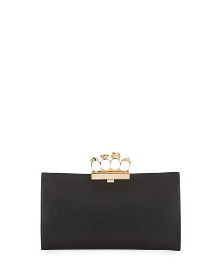 Alexander McQueen Knuckle Grain Leather Clutch Bag, Black