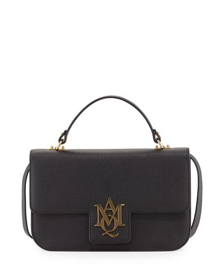 Insignia Medium Leather Shoulder Bag, Black