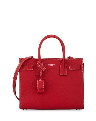 Sac de Jour Baby Grained Leather Satchel Bag, Red