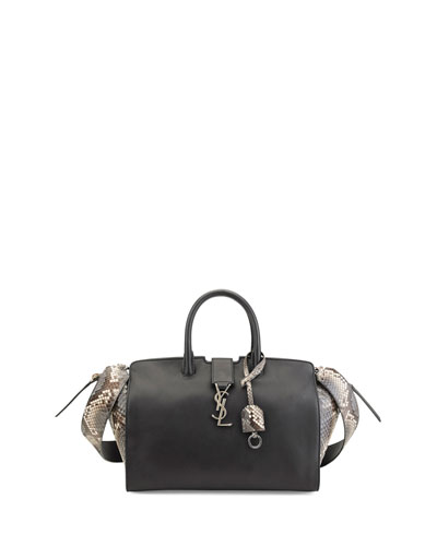 Downtown Cabas Small Leather & Python Satchel Bag, Black/Gray